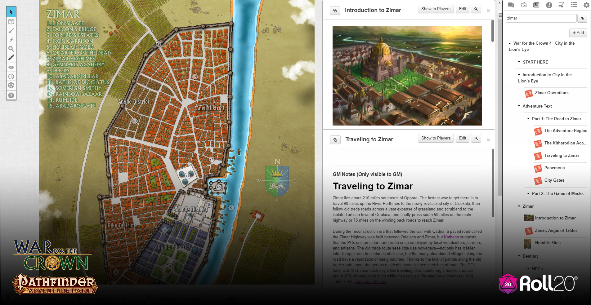 City in the Lion's Eye is dived into three parts. Part 1 is simply getting  the PCs to Zimar, with a stop at the Lion Blades training academy.