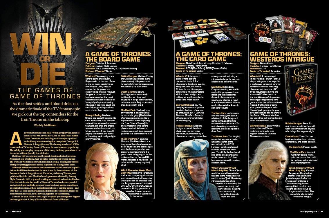 Win or Die: The Games of Game of Thrones [Tabletop Gaming Magazine]