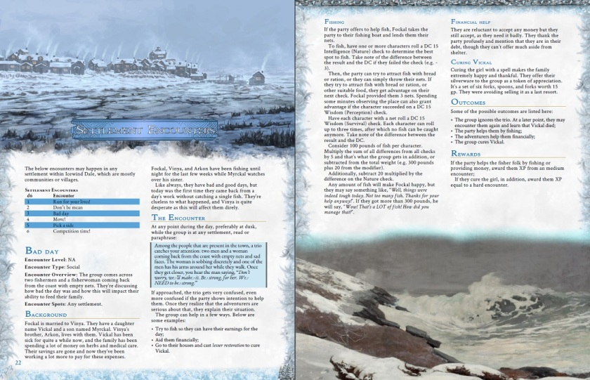 icewind dale settlement encounters